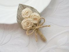 Items similar to Champagne Burlap Boutonniere with 3 flower on Etsy Boutonnieres, Burlap Boutonniere, Groomsmen Boutonniere, Burlap Flowers, Felt Flowers, Diy Flowers, Family Flowers, Jute Crafts, Burlap Projects
