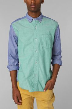 Urban Outfitters Hawkings Mcgill Colorblock Oxford Buttondown Shirt in Green for Men (BLUE)