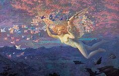 "Edward Robert Hughes (1851-1914), ""On the Wings of the Morning"""
