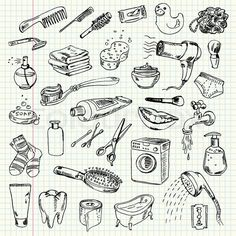 Illustration about Freehand drawing hygiene and cleaning products on a sheet of exercise book. Illustration of draft, notebook, cotton - 36280917 Bullet Journal Banner, Bullet Journal Ideas Pages, Doodle Icon, Doodle Art, Drawing Hair Tutorial, Sketch Note, Doodle Pages, Exercise Book, Jr Art