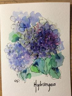 Purple Hydrangea Watercolor Card / Hand Painted Watercolor Card