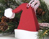 Santa Hat Christmas Tags or Package Labels (Qty. 6)