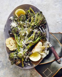 Roasted Broccolini with Garlic and Parmesan from www. (What's Gaby Cooking) hands down the best side dish ever Top Recipes, Side Dish Recipes, Vegetable Recipes, Vegetarian Recipes, Healthy Recipes, Water Recipes, Vegetable Sides, Healthy Dinners, Easy Meals