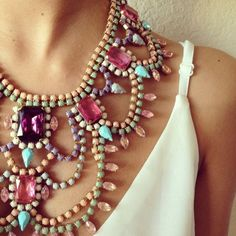 Statement necklace with gems and beads in pastel colors