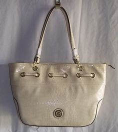 Anne Klein Anchors Away Cream Tote Bag Patent Croc Design  NWOT  #AnneKlein #TotesShoppers