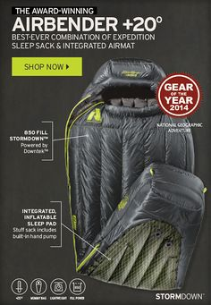 The Airbender 20 Sleeping Bag - Winner of National Geographic's 2014 Gear of the Year Award | http://www.eddiebauer.com/product/airbender-20-sleeping-bag/82302327/_/A-ebSku_0232328707__82302327_catalog10002_en__US?cm_sp=HOMEPAGE-_-4-_-Airbender&previousPage=HPC