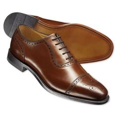 Brown Clarence semi-brogue shoes | Men's business shoes from Charles Tyrwhitt, Jermyn Street, London