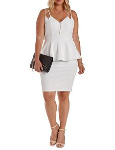 Plus Size White Textured Strappy Peplum Dress - 3X