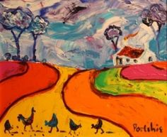For the ultimate experience in art African Colors, South African Artists, Afrikaans, Pretty Art, Naive, Landscape Art, Pretty Pictures, Persian, 2d