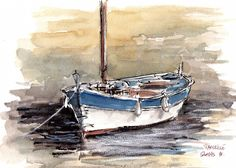 Watercolor Ocean, Watercolor Landscape Paintings, Watercolor Sketch, Landscape Art, Model Sailing Ships, Sailboat Painting, Tinta China, Fish Art, Street Art