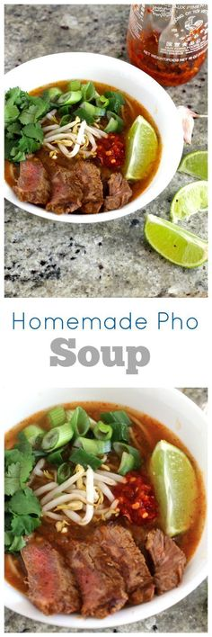 Vietnamese pho soup combines star anise, beef broth and red curry paste for a spicy, filling soup!
