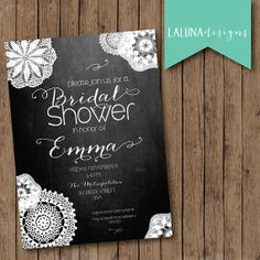 Bridal Shower Invitation Chalkboard Background by LaLunaDesigns, $16.00