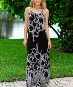 Another great find on #zulily! Black & White Floral Maxi Dress by Modern Touch #zulilyfinds