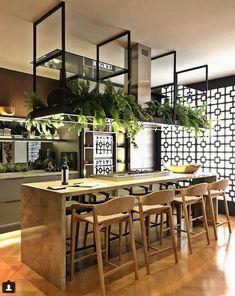 Modern cafe-like island Loft Kitchen, Wooden Kitchen, New Kitchen, Kitchen Interior, Kitchen Dining, Kitchen Decor, Küchen Design, House Design, Industrial Kitchen Design