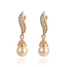 Pearl Earrings   Angelady 18k Rose Gold Plated Pearl Drop Earrings Austrian Crystals ** To view further for this item, visit the image link.