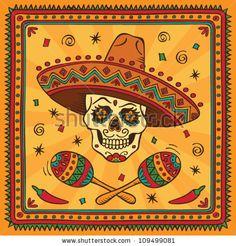 Mexican sugar skull cartoon. Vector version.