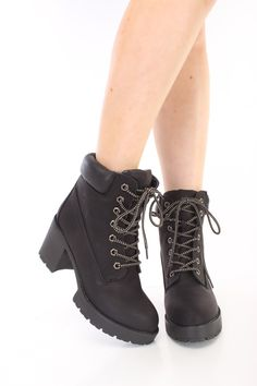 These sexy and stylish ankle booties feature a nubuck faux leather upper with a round closed toe, stitched trim, lace up tie design, traction soles, smooth lining, and cushioned footbed. Approximately 3 inch chunky heels and 1 inch platforms.
