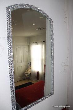 diy bling out your mirror buy any cheap framed mirror any type of gem stones simply figure. Black Bedroom Furniture Sets. Home Design Ideas