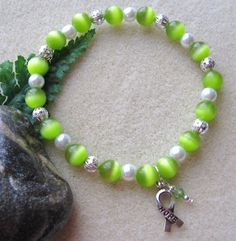 My grandma will beat cancer!  Lymphoma+Awareness+Lime+Green+Cats+Eye+by+BeadCreationStation,+$10.00