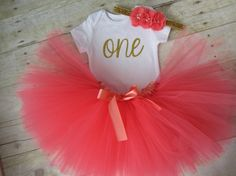 Tutu Birthday Outfit...Coral and Gold by SweetChubbyCheeks on Etsy