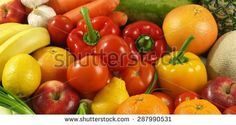 Fresh, healthy and colorful fruits and vegetables