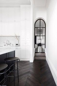 prahran residence | biasol - design | interiors - simple - dramatic - modern - stark - white - chevron floors - wood - dark stained - interior - kitchen - hallway - grand - interior design - decor - architecture - reno - renovation - idea - ideas - inspiration - photography