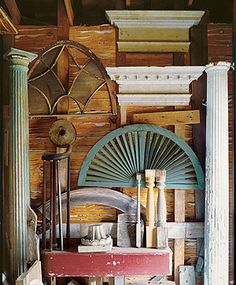 I want everything in this photo. I LOVE architectural salvage!!!!