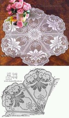 This Pin was discovered by Ale doily chart hard to read Filet Crochet: several vintage style patterns Crochet Tablecloth Pattern, Free Crochet Doily Patterns, Crochet Doily Diagram, Crochet Chart, Crochet Motif, Crochet Designs, Knitting Patterns, Crochet Lace, Filet Crochet