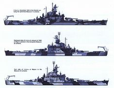South Dakota class battleship USS Alabama (BB-60) two different schemes 1942-1944.