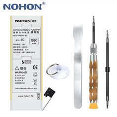 NOHON Li-polymer Battery for Apple iPhone 5 Not for 5C 5S Real High Capacity 3.8V 1590mAh Lithium Replacement Battery With Tools