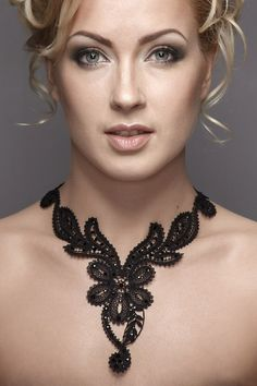 Unique Russian handmade black bobbin lace necklace by Russianlaces, $467.00