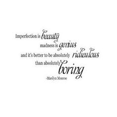 Marilyn Monroe Imperfection Vinyl Wall sayings quotes Lettering Decal Sticker