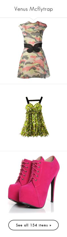 """Venus Mcflytrap"" by monniehuns ❤ liked on Polyvore featuring dresses, print skater dress, silk skater dress, silk slip, pattern dress, multi coloured dress, jewelry, necklaces, accessories and collares"