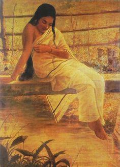 Reprints of Raja Ravi Varma Paintings: Malayali Lady Sitting on the Bridge Across a Small Stream