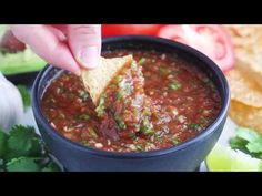 Get the chips ready for this quick and easy No-Cook Restaurant-Style Salsa recipe! Ready in less than five minutes!