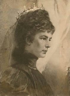 Detail van schilderij; Elisabeth op oudere leeftijd.