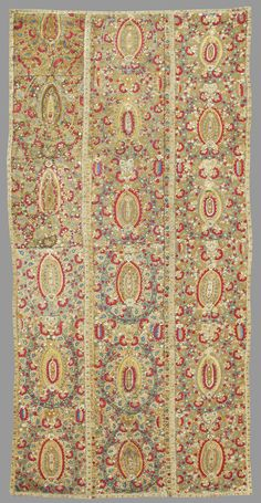 """Late-Ottoman embroidered panels, from the Epirus region (probably Ioannina), 18th century. The region was known both for its textiles and silver working. This colorful example draws large stylized palmettes based on persianate """"botehs"""" or paisleys. The richly embroidered surface, lushness and variety of color, and clarity of drawing are indicative of the finest quality of work."""