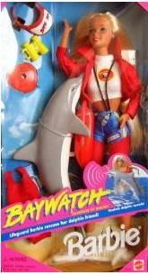 Baywatch Barbie, 1990s. I had this Barbie! The dolphin would make a noise if you pushed a button.
