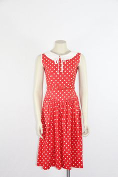 1950s Cotton Dress  Vintage Red with White by VintageFrocksOfFancy, $90.00