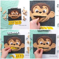 Hungry Gorilla quiet page. Quiet book for toddlers