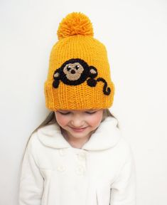 Kids Winter Hat with Monkey, Pom Pom Hat, Knit Hat Knitted by 2mice