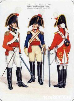 1-officier, 1st Regt of Life Guards 1790 2-Officer,Royal Guards 1800 3-Trooper,1st Regt of life guards 1807
