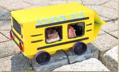 Time to get ready for a new school year! Make sure your egg carton people get there on time in their new juice box school bus!