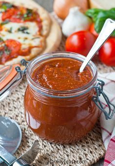Roasted Tomato Pizza Sauce - Roasting the tomatoes gives this pizza sauce a wonderfully rich and intense flavor. So delicious on pizza! And its easy too!