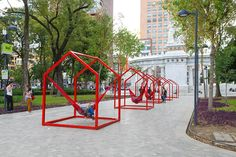 'mi casa, your casa' is a playful urban installation for the time of social distancing Urban Landscape, Landscape Design, Public Space Design, High Museum, Event Solutions, Cute Panda Wallpaper, Panda Wallpapers, Am Meer, Basic Shapes