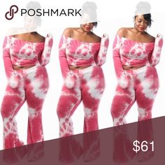 Tie Dye Crop Set‼️💣 Super cute and chic off the shoulder tie dye crop set‼️ Pants Jumpsuits & Rompers