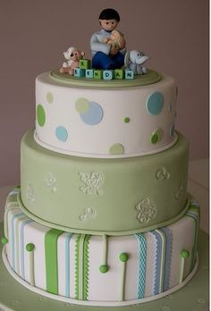 interesting design on bottom tier  Nice combination of polka dot layer, embossed layer, and strip and fondant balls