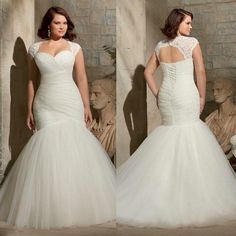 Plus Size Mermaid Wedding Dresses 2015 Two Piece with Detachable Lace Bolero Cap Sleeve Jacket Corset And Tulle Big Bridal Gowns Cheap Hot Online with $132.69/Piece on Sarahbridal's Store | DHgate.com