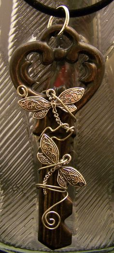 wire wrapped dragonfly key necklace - handmade