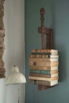 Wood clamp book shelf
